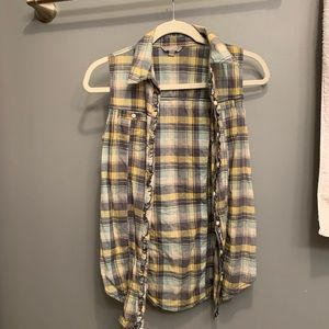 Button up flannel vest